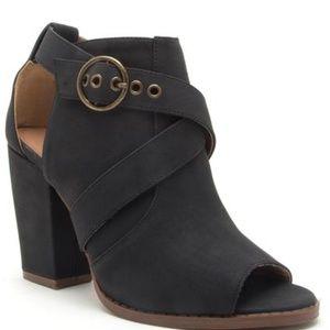 Black Nubuck Open Toe High Heel Bootie